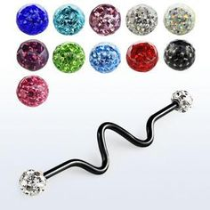 Style Sanctuary - Anodized Industrial Zig-Zag Barbell with Ferido Multi-Crystal… Second Piercing, Industrial Piercing, Body Jewellery, Crystal Ball, Zig Zag, Ear Piercings, Different Styles, Belly Button Rings, Balls