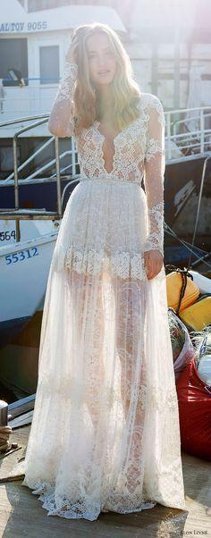 alon livne white pre 2018 bridal illusion long sleeves deep v neck sheer bodice lace a line wedding dress (kelly) mv boho romantic -- Alon Livne White 2017-2018 Wedding Dresses