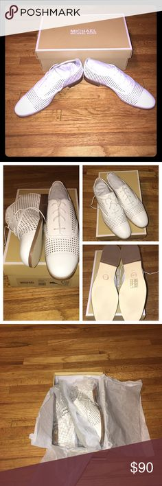 Michael Kors Perforated Leather Oxfords NIB Michael Kors Oxfords. Made with 100% cow leather, rubber sole, round toe and laced up closure. Michael Kors Shoes