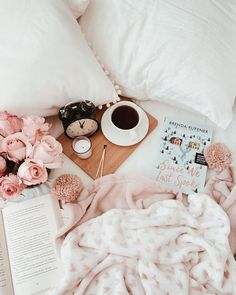 Morning in bed flatlay image.
