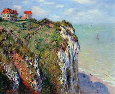 Claude Monet (French painter) 1840 - 1926 Cliff at Dieppe 1882 Claude Monet, Monet Paintings, Landscape Paintings, Nautical Wall Art, Oil Painting Reproductions, To Color, Les Oeuvres, Transformers, Fine Art Prints