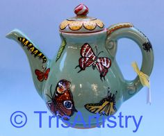 Hand Painted Celadon Butterfly Teapot by TrisArtistry on Etsy, $150.00 See more of my work at  www.etsy.com/shop/TrisArtistry Follow me on Facebook at www.facebook.com/TrisArtistry