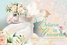 Believe In Unicorns Themed watercolor clipart collection with more than 180 elements - unicorns, crystals, jars, floral arrangements, digital papers & tileable patterns and more! Believe In Unicorns by Principesca on Art Design, Design Elements, Graphic Design, Design Ideas, Graphic Patterns, Blog Design, Clipart, Unicorns, Texture Web