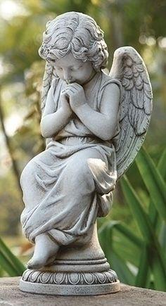 Angel Seated On Pedestal Statue