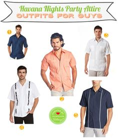 debut ideas Havana Nights Party Attire for the Guys. Assemble the Perfect Getup for a Havana Nights Soiree. From Guayabera Shirts to Cuban-style Fedora Hats to Shoes. Havana Nights Party Theme, Havana Party, Man Party, Party Party, Autumn Fashion For Teens, Guayabera Shirt, Debut Ideas, Night Outfits, Party Themes