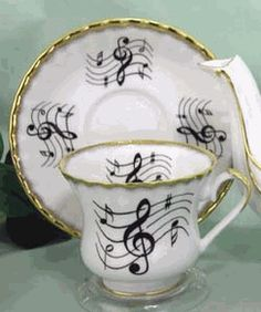 Musical Notes Porcelain Cup and Saucer. #music #dishes #porcelain http://www.pinterest.com/TheHitman14/music-paraphernalia/