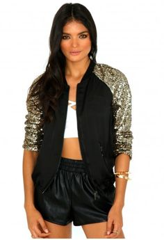 Cathryn Sequin Sleeve Bomber Jacket - Coats and Jackets - Missguided Fashion Clothes Online, Shearling Jacket, Jackets Online, Cool Style, Womens Fashion, Fashion Trends, Bomber Jacket, Missguided, Street Style