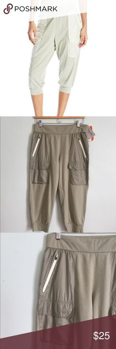 Merrell Around Town Cropped Pant Brand new! Color is Seagrass, looks like a light sage color. Elastic waste. Size small, equates to a size 4. Cotton polyester blend. Pockets resemble parachute material. Meant to fit loose around hips and tight at calves. Merrell Pants Capris
