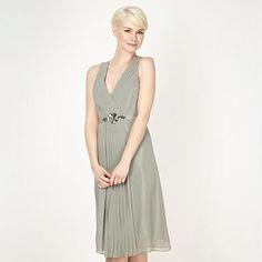 Designer light green embellished waist midi dress - Bridesmaid dresses - Dresses - Women -