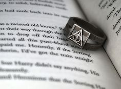 Deathly Hallows Symbol Ring  Custom Size by FanaticAlley on Etsy