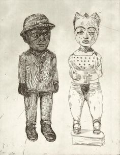 Claudette Schreuders, 'Untitled (Colons Male and Female), 2001, Drypoint.