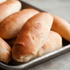 Soft and chewy homemade hot dog buns.