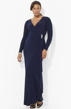 Lauren Ralph Lauren Long Sleeve Jersey Gown (Plus Size) available at #Nordstrom color is Lighthouse Navy