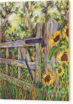 6 Excellent Cool Tips: Modern Fence Company Garden Fence Color Ideas.Fencing Ideas In Kenya Fence Ideas To Block Neighbors.Colorbond Or Wooden Fence. Sun Painting, Fence Painting, Garden Painting, Sunflower Art, Fence Landscaping, Painting Inspiration, Watercolor Paintings, Watercolors, Canvas Art