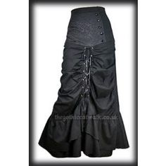 Gothic Steampunk Long Black Corset Skirt
