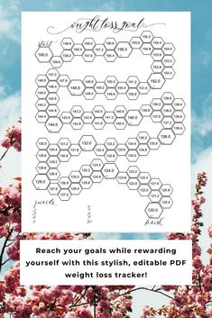 Reach those health goals with this editable PDF weight loss tracker. Just add start and goal weight, and the rest will take care of itself!