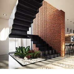 110 unique modern staircase design ideas for your dream house 20 Home Stairs Design, Interior Stairs, Modern House Design, Stair Design, Brick Design, Railing Design, Interior Garden, Home Interior Design, Architecture Design