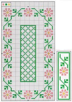 Camino de mesa Cross Stitch Bookmarks, Cross Stitch Borders, Cross Stitch Flowers, Cross Stitch Charts, Cross Stitch Designs, Cross Stitching, Cross Stitch Embroidery, Cross Stitch Patterns, Tapestry Crochet