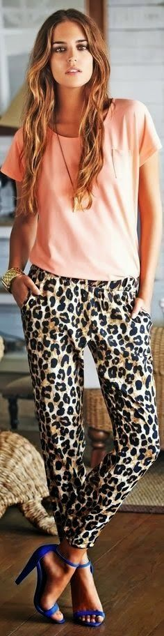 Pastel with Lepord Pant and Blue Heels