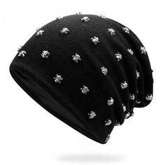 549fe78c94b1a NEW Men Metal Skull Slouch Beanie Caps Spring Fall Women Oversized Metal  Studed Beanies Hats Winter Mens Baggy CapWholesale