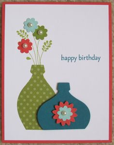 Vases card uses Stampin' Up - Framelits Holiday Ornaments (simply cut off the bottom of the ornament to make the vases); Punch - Boho Blossoms. Need to scroll down a little to see this card.