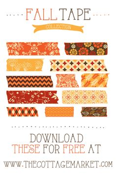 FREE Fall Digital Washi Tape Collection - The Cottage Market #FreeFallDigitalWashiTape, #FreeDigitalWashiTape, #FallWashiTape