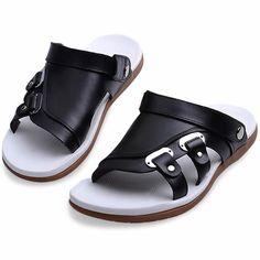 Black Leather Fashion Dress Sandals for Men SKU-1100193