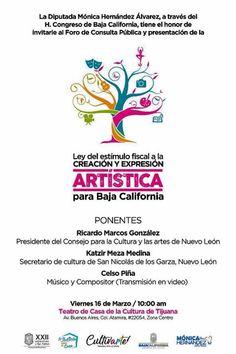 Todos invitados al foro de consulta para la Ley del estímulo fiscal a la Creación y expresión artística para Baja California este viernes. Corran la voz!
