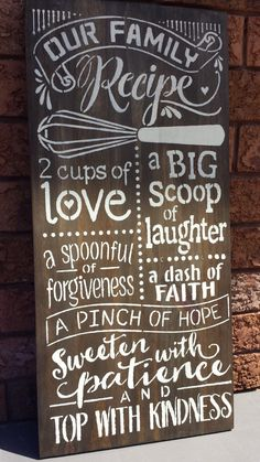 KITCHEN SIGN/FAMILY recipe sign/housewarming gift/hostess gift/family gift/kitchen decor/rustic signs by kimburcreations on Etsy https://www.etsy.com/listing/257411451/kitchen-signfamily-recipe
