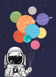 Astronauta con los planetas de globos