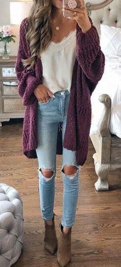 The Latest Women's Fashion Fall Outfits As últimas roupas femininas de moda outono Cold Outfits, Cute Cardigan Outfits, Fall Outfits 2018, Cute Fall Outfits, Fall Winter Outfits, Spring Outfits, Trendy Outfits, Casual Winter, Winter Cardigan Outfit