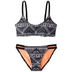 Xhilaration® Junior's 2-Piece Hanky Swimsuit -Black Print at Target