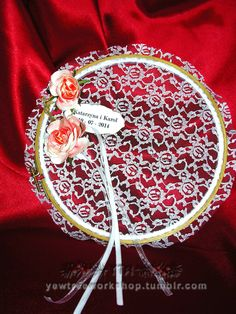 Embroidery hoop ring bearer pillow - handmade satin pink roses, painted with watercolor, on white rosey lace.