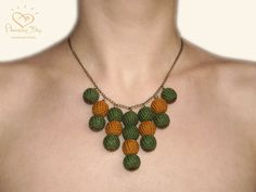 Green Crochet NECKLACE Green  Brown Chevron by AmazingDay, $38.00