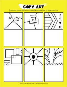 Copy Art with 40 drawing prompts. Great for critical thinking and early finishers. Copy Art with 40 drawing prompts. Great for critical thinking and early finishers. Art Sub Plans, Art Lesson Plans, Middle School Art, Art School, Drawing For Kids, Art For Kids, Art Handouts, Art Worksheets, Art Curriculum