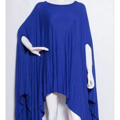 Royal Blue Plus Size Asymetrical Hem Tunic Poncho Size 3X – Fabulously Dressed Boutique
