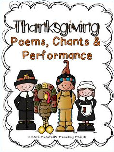 free printable poems, charts, performance unit for Thanksgiving