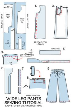 Most recent Screen easy sewing pants Ideas how to sew wide leg linen pants Sewing Pants, Sewing Clothes, Diy Clothes, How To Make Clothes, Barbie Clothes, Wide Leg Linen Pants, Wide Leg Cropped Pants, Sewing Patterns Free, Free Sewing