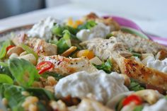 Chicken salad with lentils and feta cream