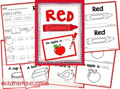 FREE Printables for the color RED by KinderAlphabet.com