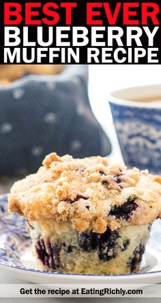 Everyone who tries this blueberry muffin recipe tells me it's truly the best ever. Made with fresh or frozen blueberries, and topped with a crunchy crumb topping. Frozen Blueberry Muffins, Frozen Blueberry Recipes, Blueberry Cookies, Blue Berry Muffins, Blueberry Pie Recipe With Frozen Berries, Blueberry Muffin Recipes, Blueberry Bread, Baking Recipes, Dessert Recipes