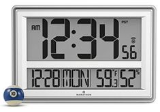The large, wide-angle and easy-to-read Jumbo Atomic Clock can be mounted on your wall or can stand on your desk. Features large print and is self-setting/adjusting using radio frequencies broadcast from NIST's Colorado Atomic Clock. Atomic Wall Clock, Desk Clock, Wall Clocks, Digital Wall, Digital Alarm Clock, Wall Clock With Temperature, Marathon Watch, Kitchen Clocks, Plastic Glass