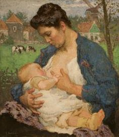 gari melchers paintings - mother and child gouache