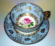 Royal Windsor Wedgwood Blue Pink Rose Gold White TEA CUP AND Saucer |
