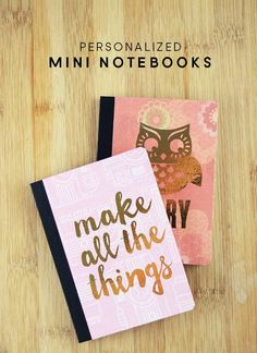 Use gold foil, Mod Podge, papers, and other embellishments to create the cutest personalized notebooks ever - keep these minis in your pocket! Diy Notebook Cover, Notebook Design, School Notebooks, Cute Notebooks, Journals, Scrapbook, Planners, Minis, Diy Back To School