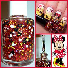 """Minnie Mouse"" Disney Mickey Red Bow Dots Indie Handmade Glitter Nail Polish #HandmadeIndie"