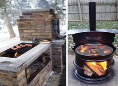 barbecues in the country photo Outdoor Barbeque, Barbecue Grill, Homemade Grill, Fire Pit Landscaping, Water Features In The Garden, Smokehouse, Backyard, Patio, Home Appliances