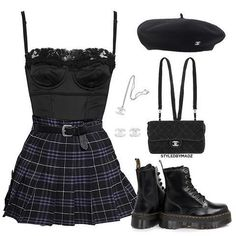 Komplette Outfits, Kpop Fashion Outfits, Stage Outfits, Grunge Outfits, Retro Outfits, Cute Casual Outfits, Stylish Outfits, Polyvore Outfits Casual, Mode Emo