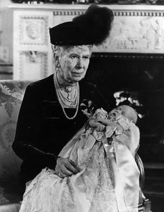 Queen Mary at the christening of Prince Charles in 1948