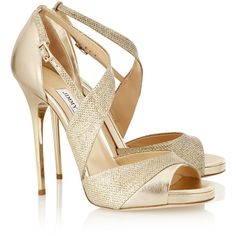 Jimmy Choo Tyne metallic leather and textured-lamé sandals (€400) ❤ liked on Polyvore featuring shoes, sandals, heels, sapatos, jimmy choo, heeled sandals, platform sandals, buckle sandals, high heel sandals and ankle strap heel sandals
